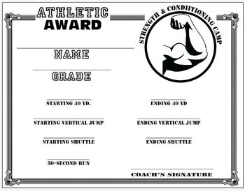 athletic achievement-Strength and Conditioning Camp CERTICATE - template