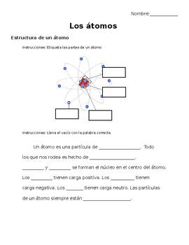átomos- cloze reading on Atoms in Spanish