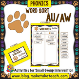 au aw Word Sort- File Folder Word Sorts