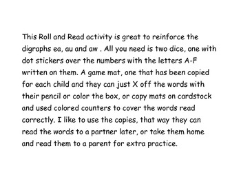 au aw ea roll and read