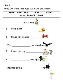 """au"" & ""aw"" worksheets"