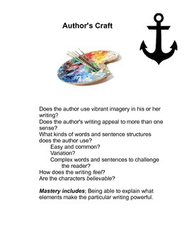 author's craft anchor chart