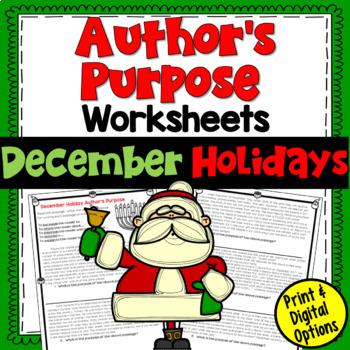 author's purpose practice paragraphs (December Holidays)