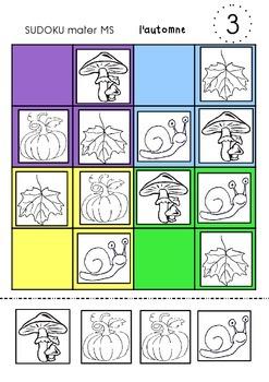 automn sudoku preschool maternelle