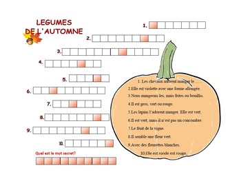 automne; mots croises; legumes; French wordsearch; French  crossword;