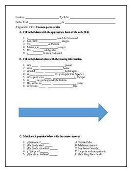avancemos 1a unit 1 lesson 1 quiz on ser, gustar, and vocabulary