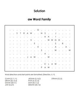 aw Word Family Word Search/ Coloring Sheet (Phonics Worksheet)