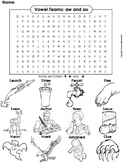 aw and au Vowel Team: Phonics Worksheet: Digraphs Word Search/ Coloring Sheet