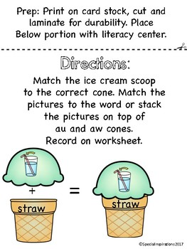 aw/au Ice Cream Stack Literacy Centers/Activity