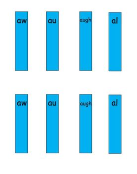 aw, au, augh, al vowel pattern word sort