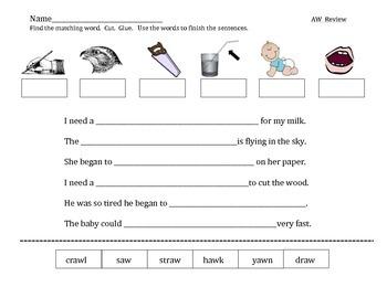 aw diphthong vowel sound worksheet practice