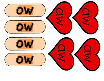 aw ow word and picture sort- Center activity