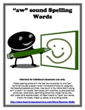 aw sound Spelling Words - Basic Word Work Packet