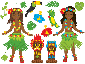 awaii Girl Clipart - Digital Vector Hawaii, Girl, Luau, Hula, Aloha Clip Art