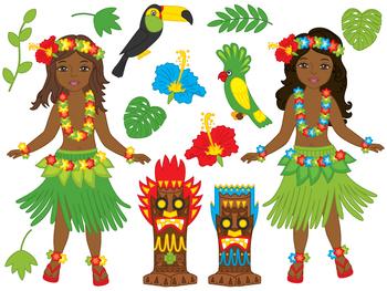 awaii Girl Clipart - Digital Vector Hawaii, Girl, Luau, Hu