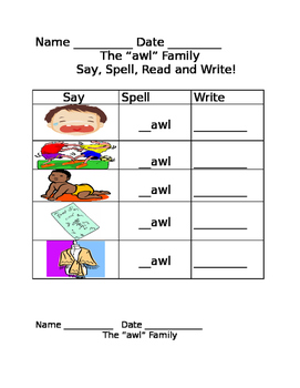 awl word family