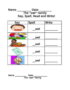 awl word family