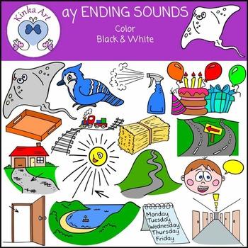 ay Ending Sounds Clip Art