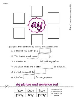 'ay' Flipbook ~ 5 centre activities in the one flipbook!