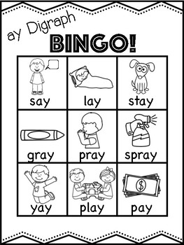 ay Vowel Digraph Bingo [10 playing cards]