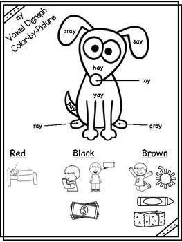 ay Vowel Digraph Color-by-Picture