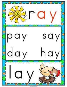 'ay' Word Family Long Vowel Word Work