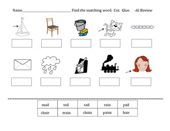 ay and ai phonic word practice