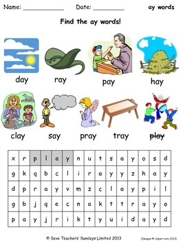 ay phonics lesson plans, worksheets and other teaching resources