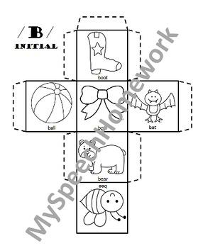 /b/ Articulation Dice Craft - initial, medial, & final