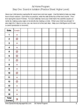 /b/ Articulation Homework: Complete Home Program