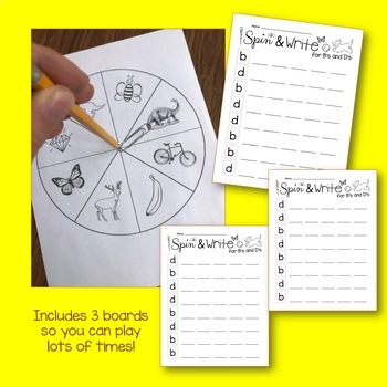 b and d Confusion - Spin and Write Game and Worsheets - letter reversal