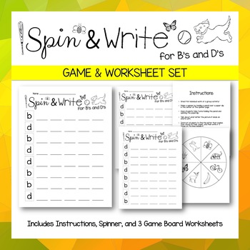 b and d Confusion - Reversal Recognition Spin and Write Game and Worsheets