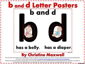 b and d Reversals Posters Visual Cues Color or Black and White