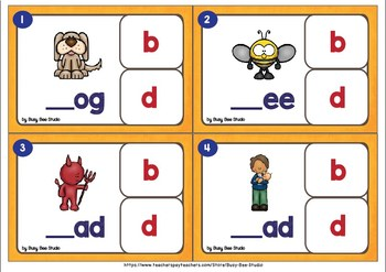 b and d, p and q Clip Cards