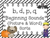 b, d, p, q - Beginning Sounds Sort {Pictures and Words}