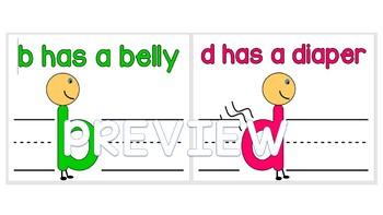 b has a belly d has a diaper