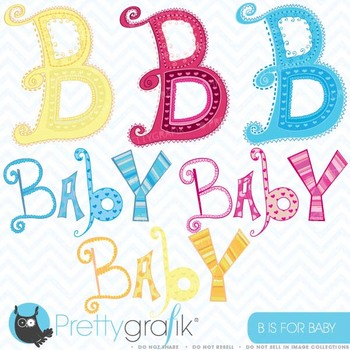 baby alphabet letter art, commercial use, vector graphics - CL408