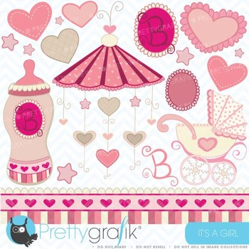 baby girl clipart commercial use, vector graphics, digital clip art - CL321