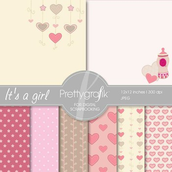 baby girl digital paper, commercial use, scrapbook papers, background - PS541