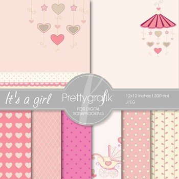 baby girl digital paper, commercial use, scrapbook papers, background - PS542
