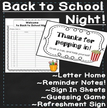 Meet the Teacher & Back to School Night Activities and Sign in Sheet