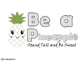 back to school - Pineapple Coloring Page MINDSET activity