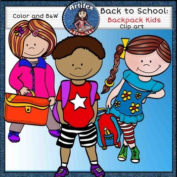 Back to school clip art: backpack Kids -Color and B&W-
