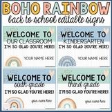 back to school signs | boho rainbow | editable