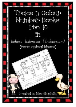 bahasa indonesia MY NUMBERS BOOK 1 to 10  trace and colour
