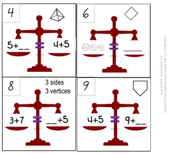 1st Grade & 2nd Grade Math Calendar - balanced equation, inequalities, $, shapes