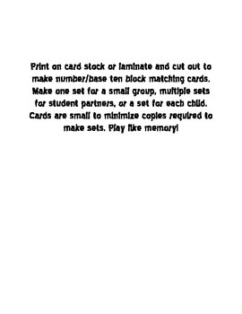 base ten blocks and number matching card game