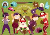 baseball softball girls cliparts