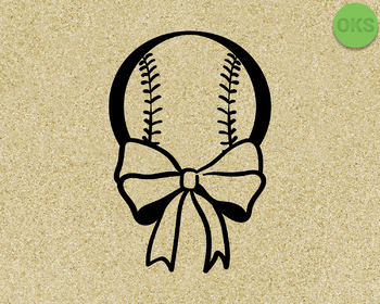 baseball with ribbon SVG cut files, DXF, vector EPS cutting file