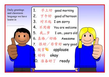 basic Mandarin greetings and classroom language use vol 2